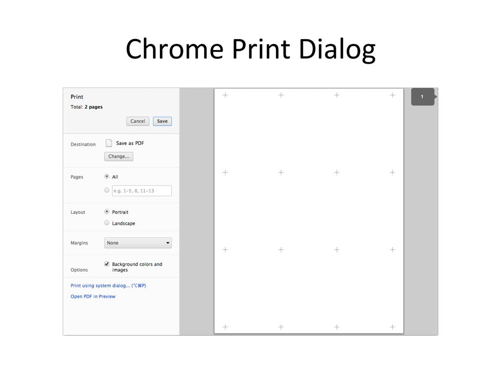 Chrome Print Dialog