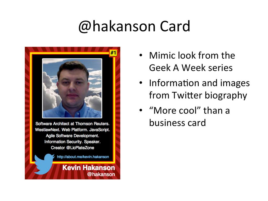 @hakanson Card  • Mimic look from...