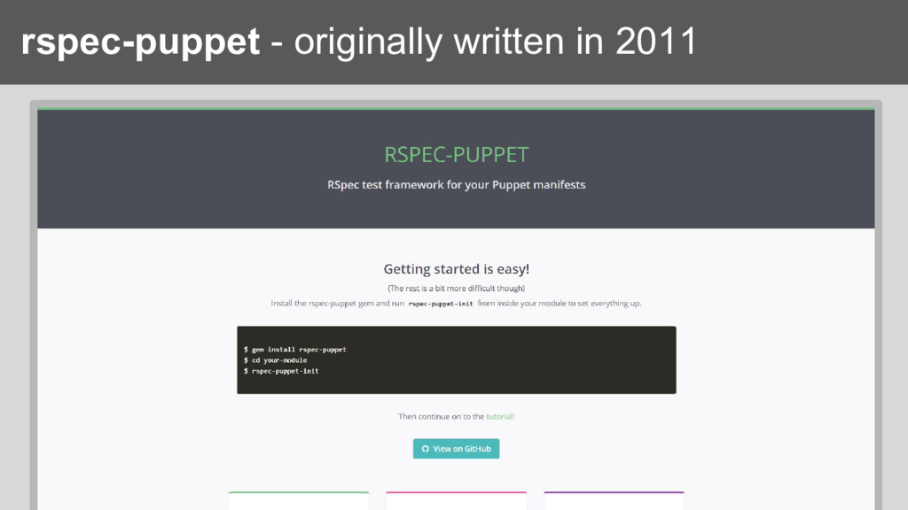 rspec-puppet - originally written in 2011