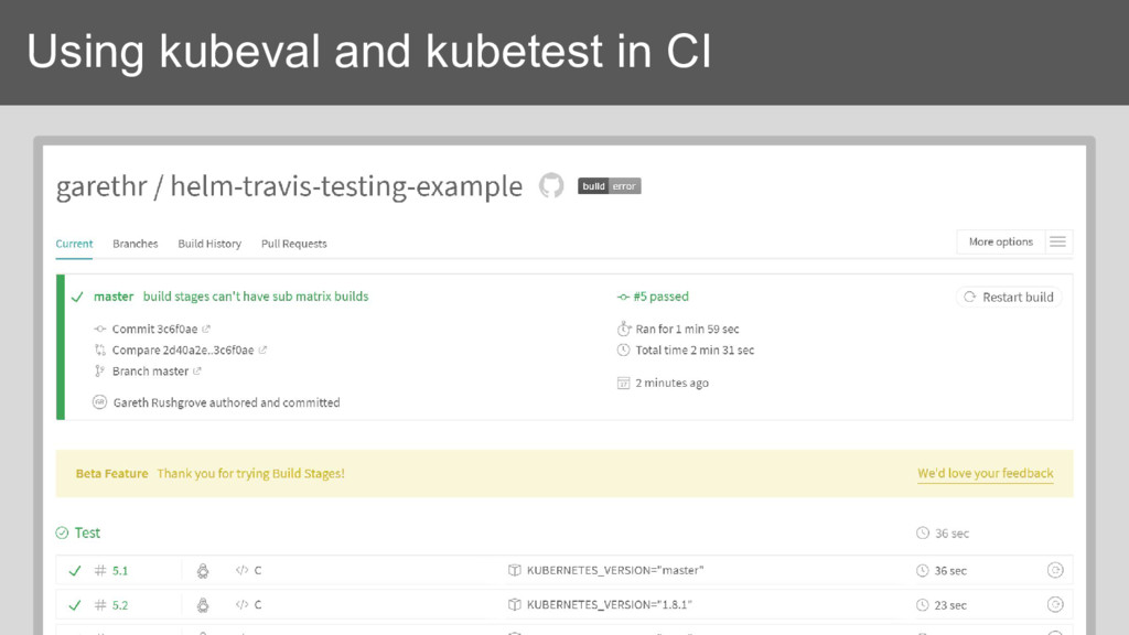 Using kubeval and kubetest in CI