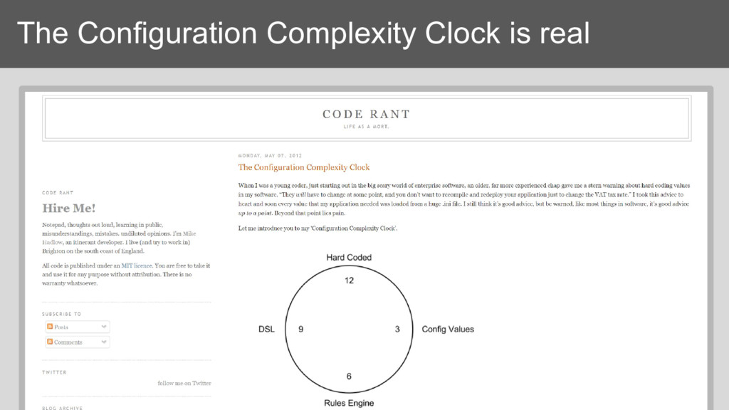 The Configuration Complexity Clock is real