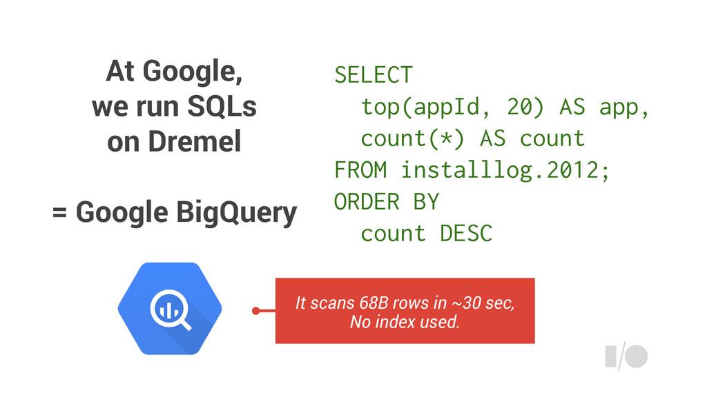 At Google, we run SQLs on Dremel = Google BigQu...