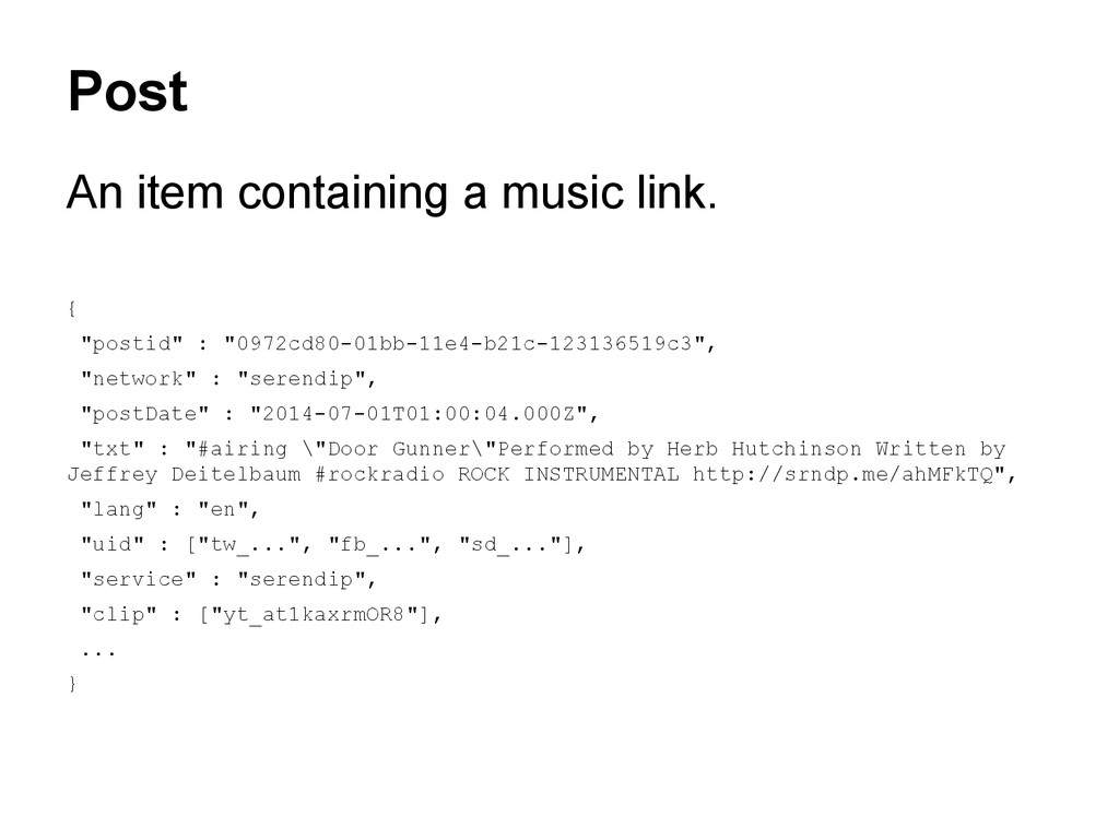 """Post An item containing a music link. { """"postid..."""
