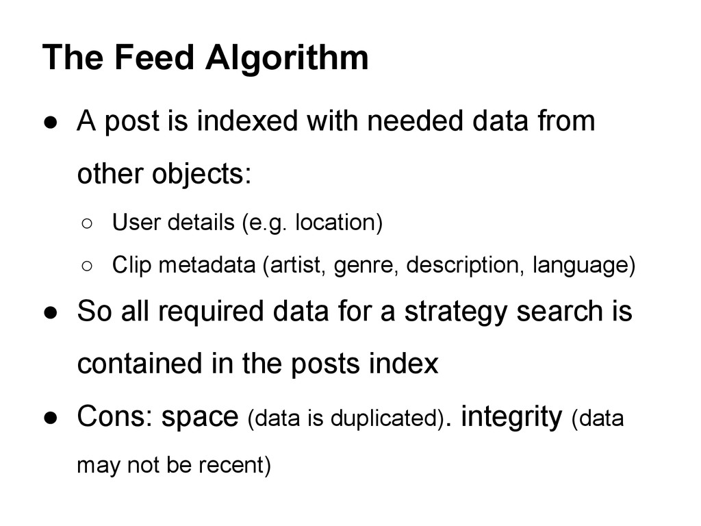 ● A post is indexed with needed data from other...