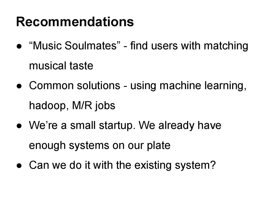 """● """"Music Soulmates"""" - find users with matching ..."""
