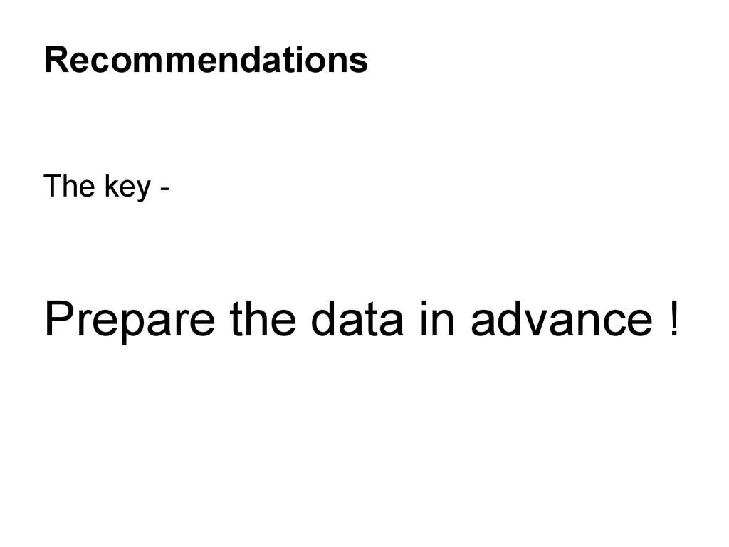 The key - Prepare the data in advance ! Recomme...