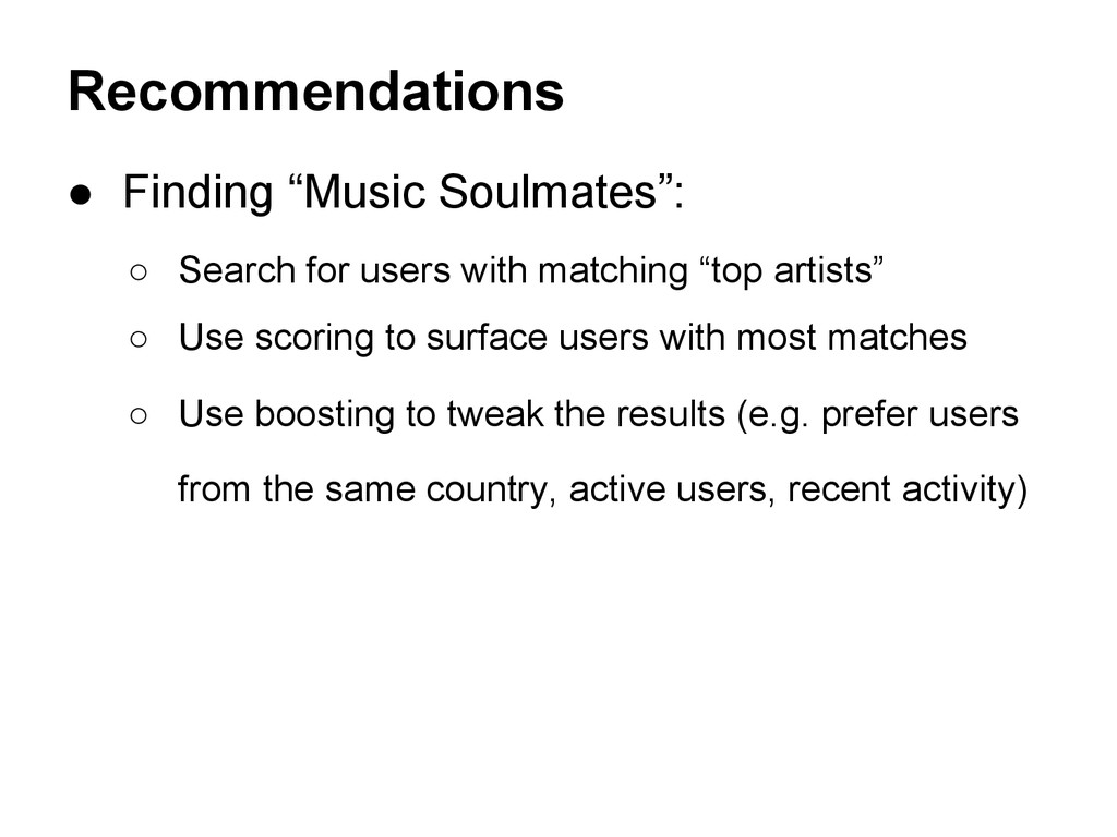 """● Finding """"Music Soulmates"""": ○ Search for users..."""