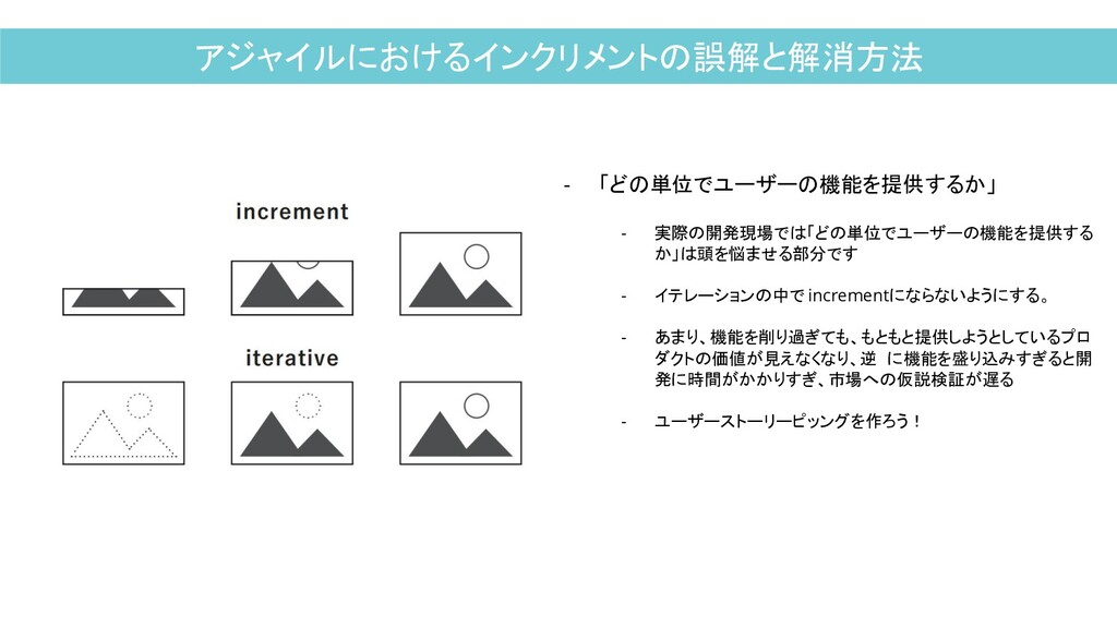 アジャイルにおけるインクリメントの誤解と解消方法 - 「どの単位でユーザーの機能を提供するか」...