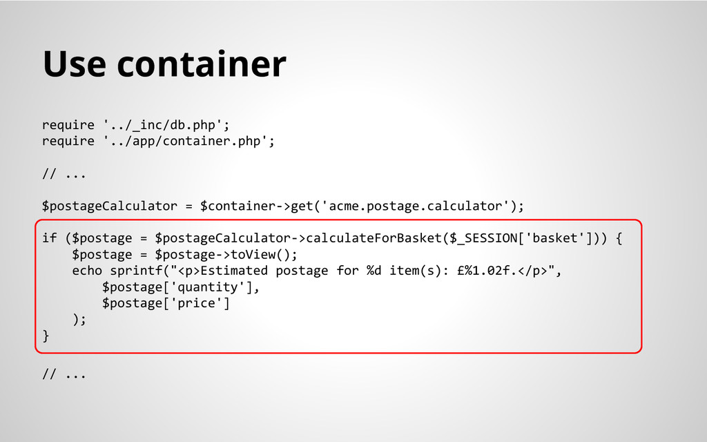 Use container require '../_inc/db.php'; require...