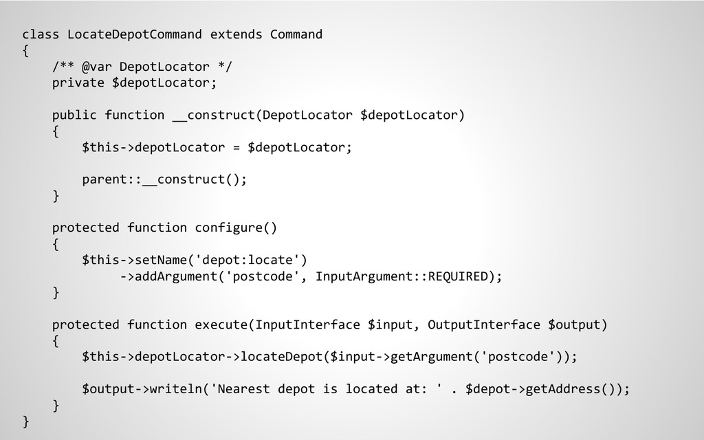 class LocateDepotCommand extends Command { /** ...
