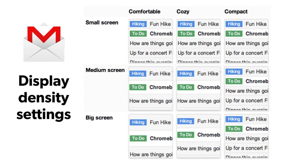 Display density settings