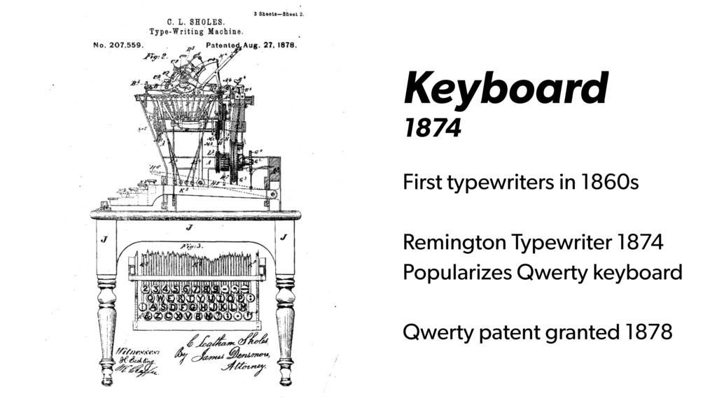 Keyboard 1874 First typewriters in 1860s Reming...