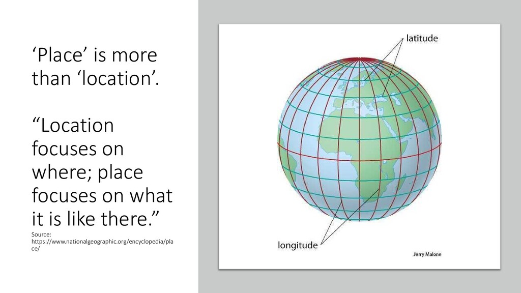 """'Place' is more than 'location'. """"Location focu..."""