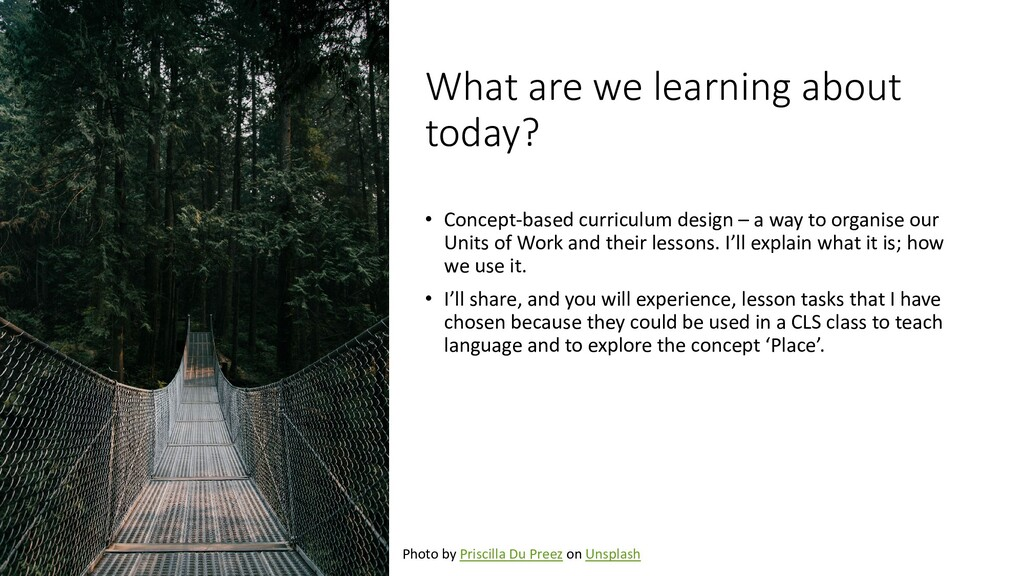 What are we learning about today? • Concept-bas...