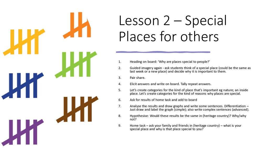 Lesson 2 – Special Places for others 1. Heading...