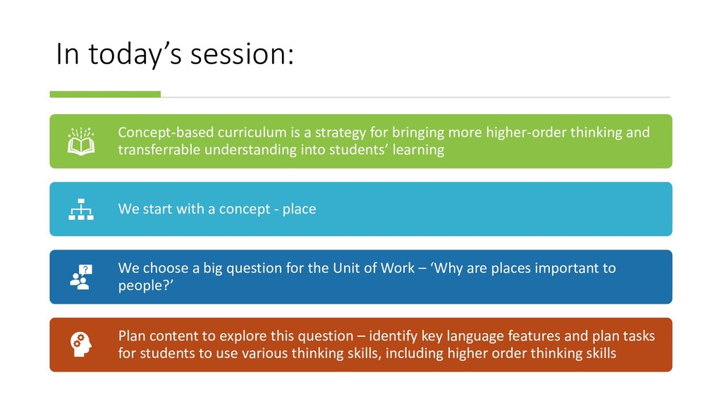 In today's session: Concept-based curriculum is...