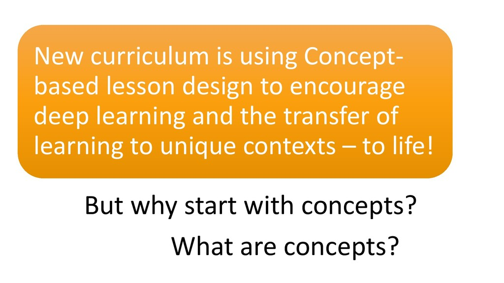 But why start with concepts? New curriculum is ...