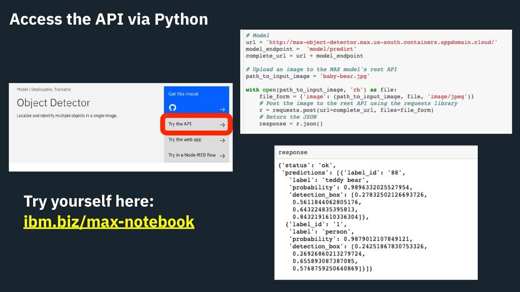 Access the API via Python Try yourself here: ib...