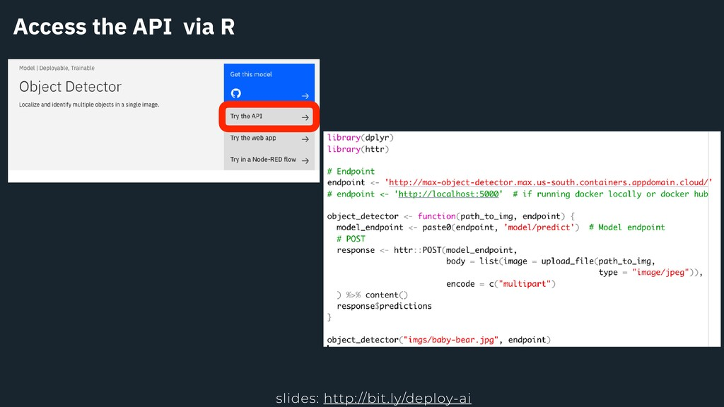 Access the API via R slides: http://bit.ly/depl...