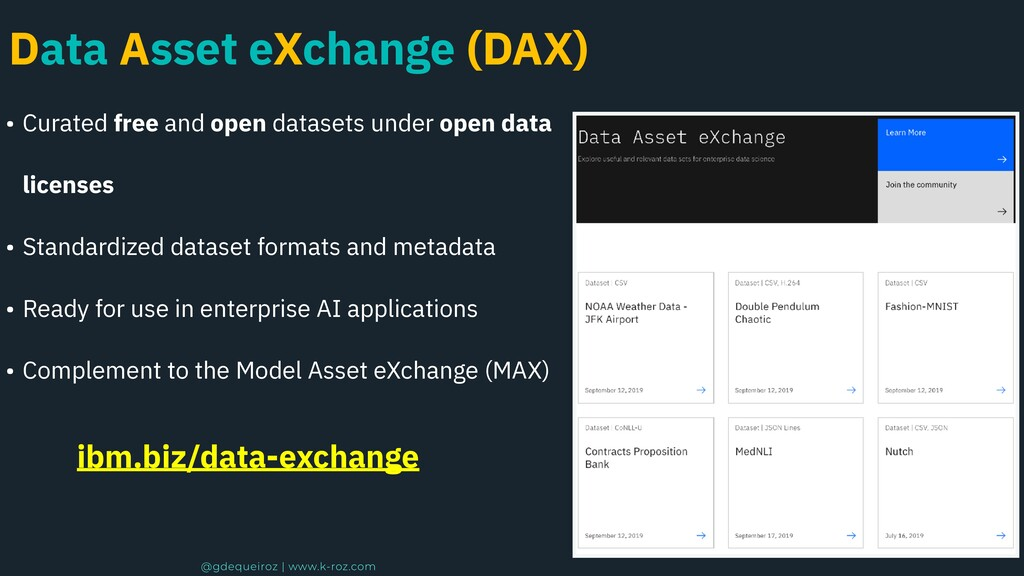 Data Asset eXchange (DAX) • Curated free and op...