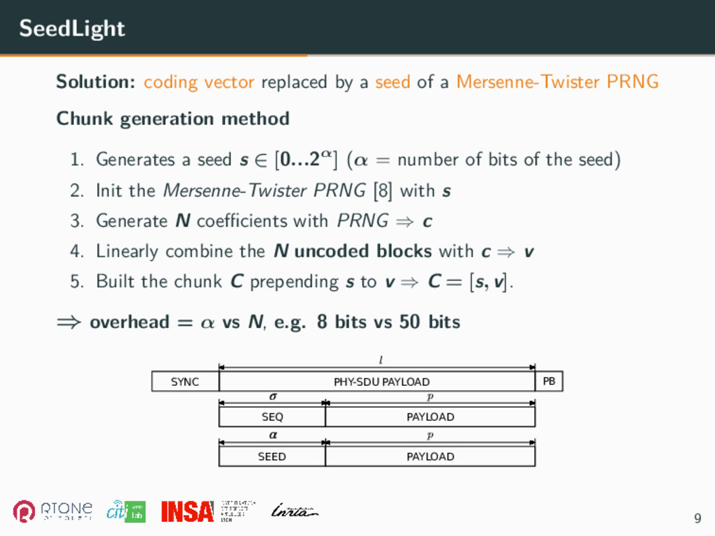 SeedLight Solution: coding vector replaced by a...