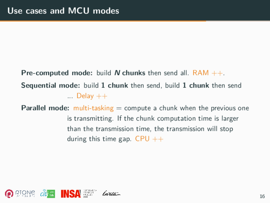 Use cases and MCU modes Pre-computed mode: buil...