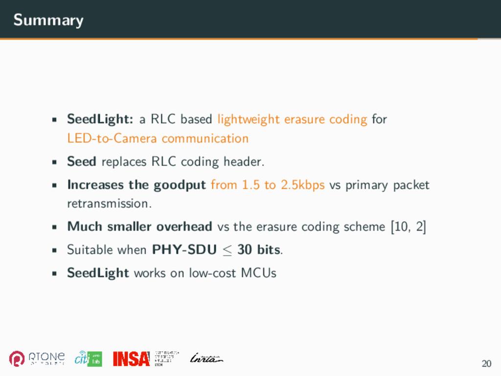 Summary • SeedLight: a RLC based lightweight er...