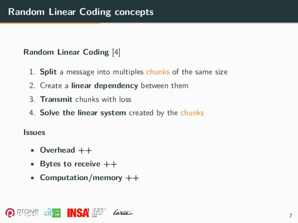 Random Linear Coding concepts Random Linear Cod...