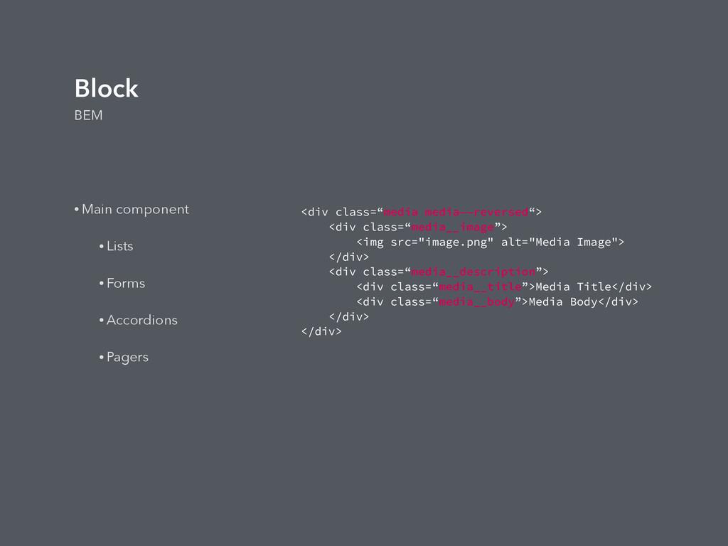 Block BEM • Main component • Lists • Forms • Ac...