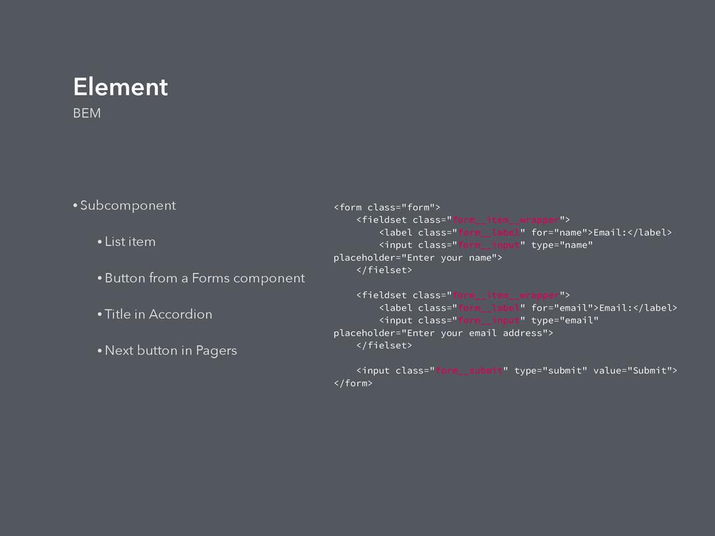 Element BEM • Subcomponent • List item • Button...