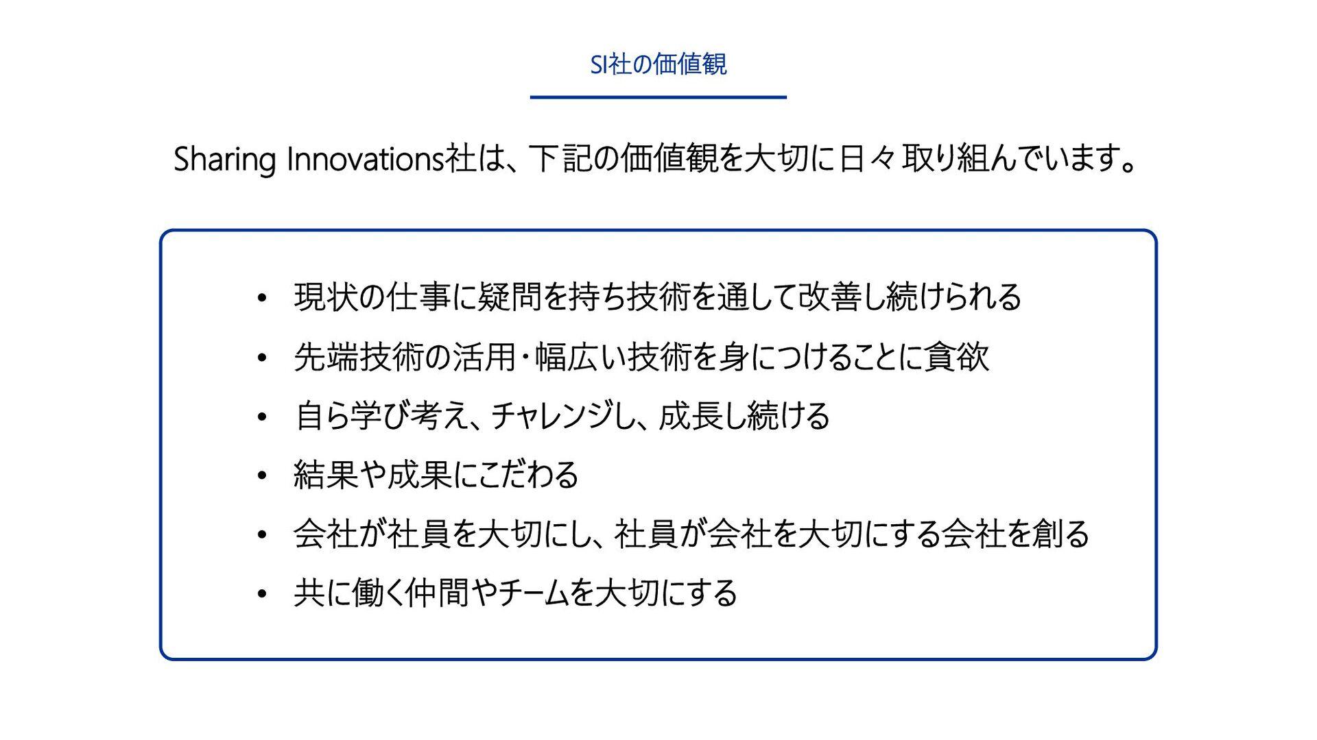 19 SI社の価値観 • 現状の仕事に疑問を持ち技術を通して改善し続けられる • 先端技術の活...