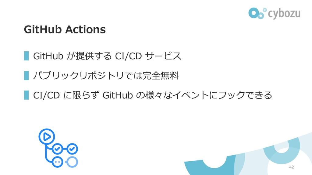 GitHub Actions ▌GitHub が提供する CI/CD サービス ▌パブリックリ...