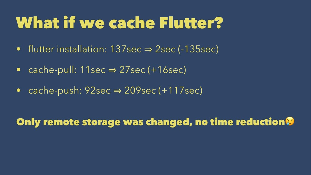 What if we cache Flutter? • flutter installation...