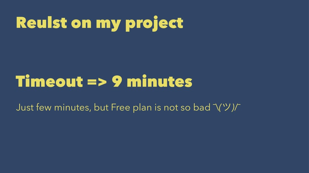 Reulst on my project Timeout => 9 minutes Just ...