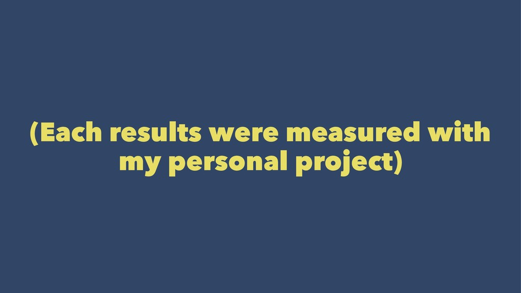(Each results were measured with my personal pr...