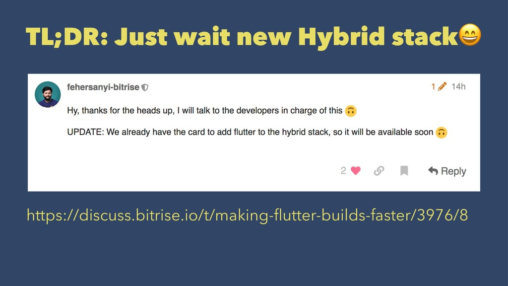 TL;DR: Just wait new Hybrid stack https://discu...