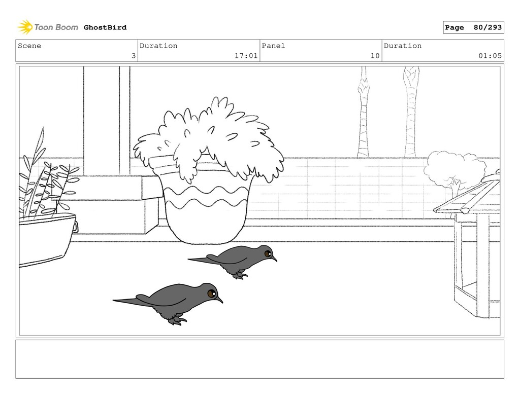 Scene 3 Duration 17:01 Panel 10 Duration 01:05 ...