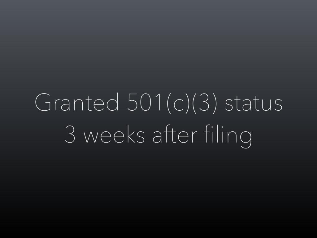 Granted 501(c)(3) status 3 weeks after filing