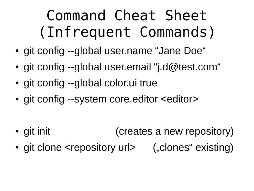 Command Cheat Sheet (Infrequent Commands) ● git...