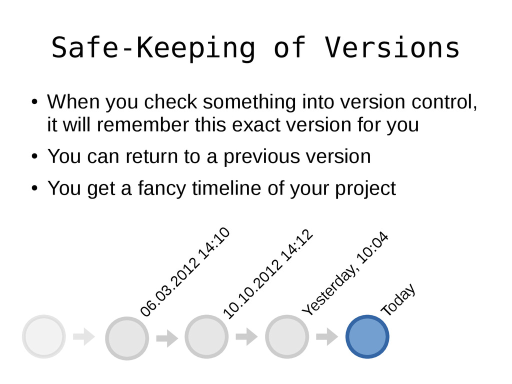 Safe-Keeping of Versions ● When you check somet...
