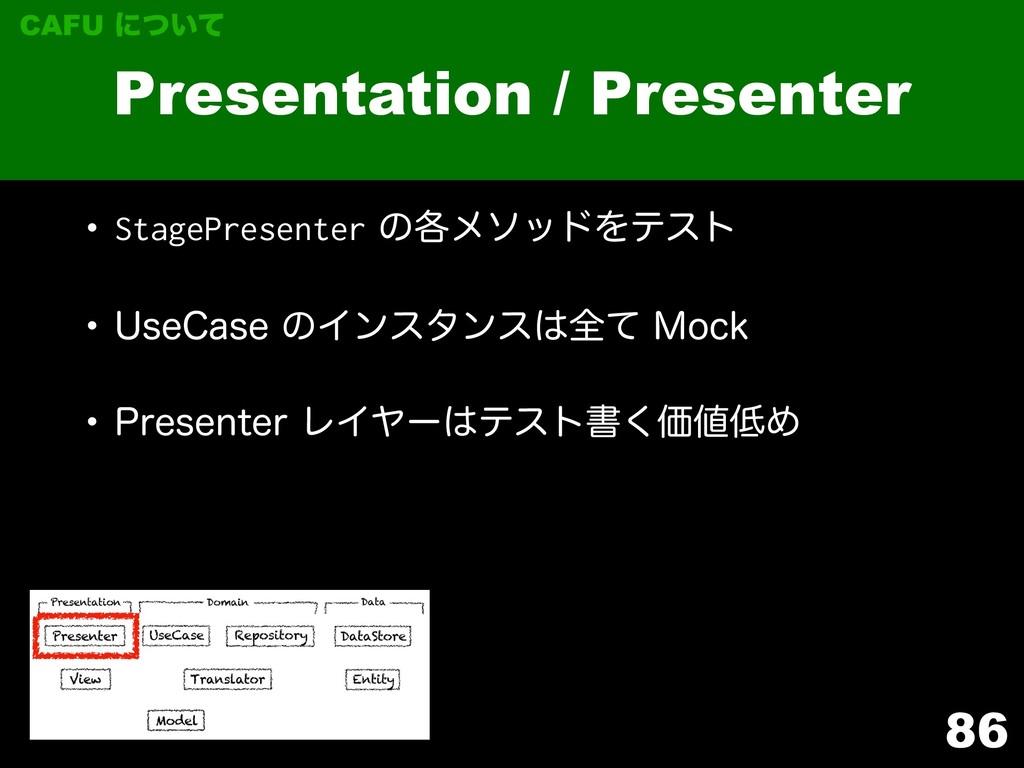 86 Presentation / Presenter CAFU ʹ͍ͭͯ w StagePr...