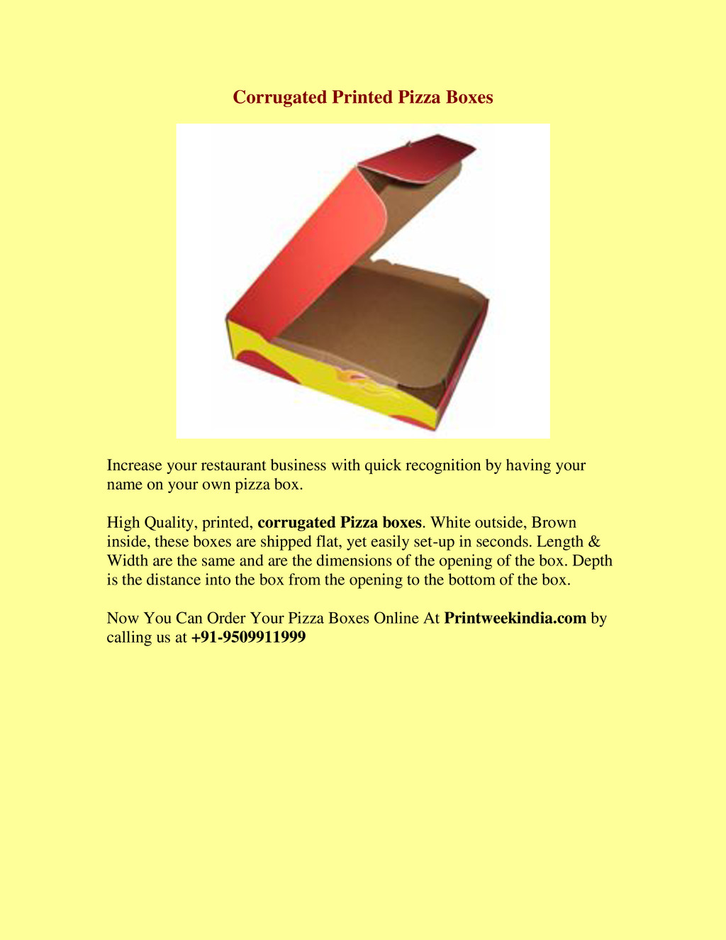 Corrugated Printed Pizza Boxes Increase your re...