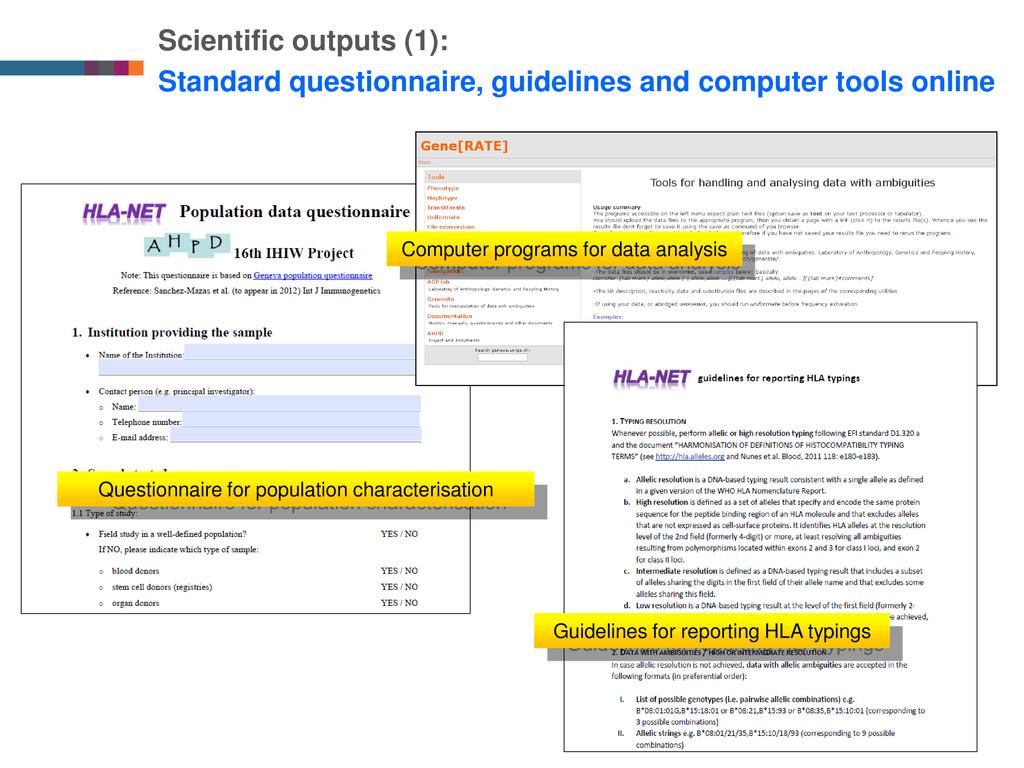 Scientific outputs (1): Standard questionnaire,...