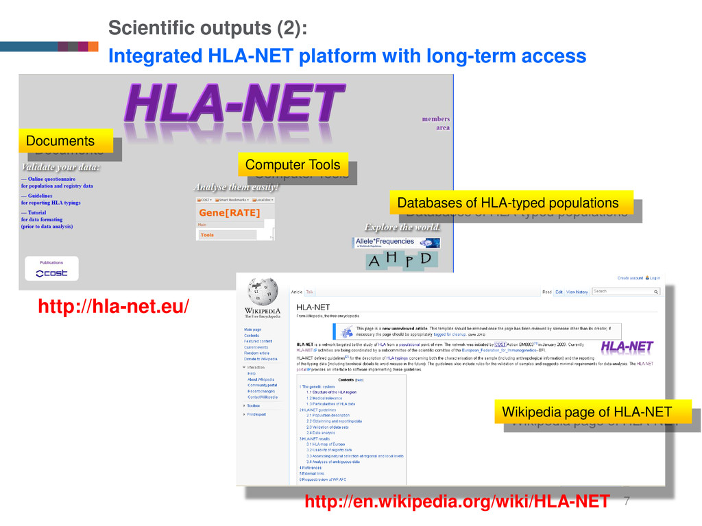7 Scientific outputs (2): Integrated HLA-NET pl...