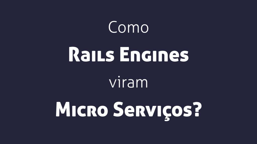 Como viram Micro Serviços? Rails Engines