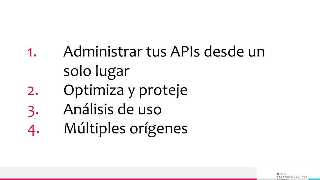 1. Administrar tus APIs desde un solo lugar 2. ...