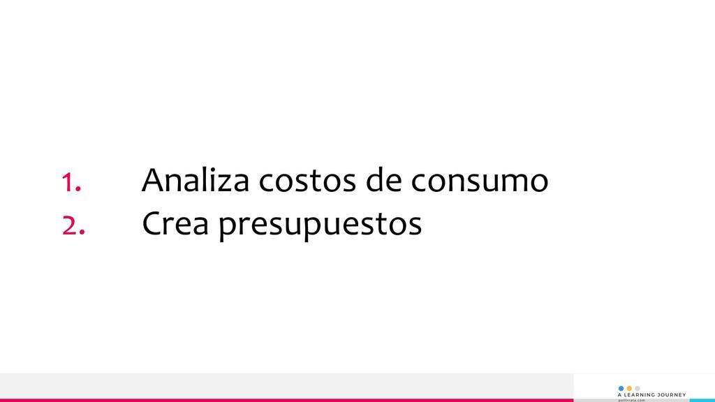 1. Analiza costos de consumo 2. Crea presupuest...