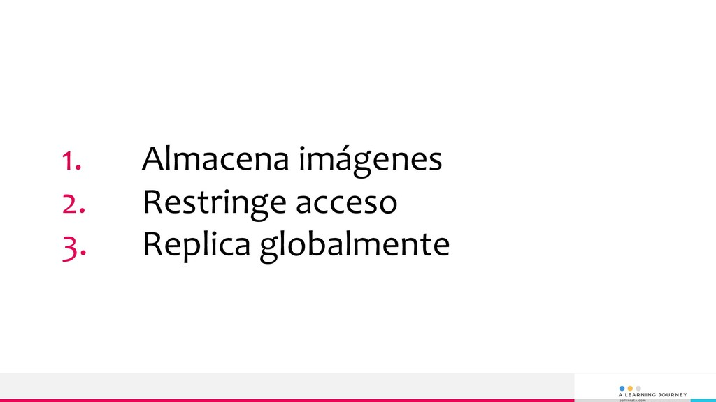 1. Almacena imágenes 2. Restringe acceso 3. Rep...