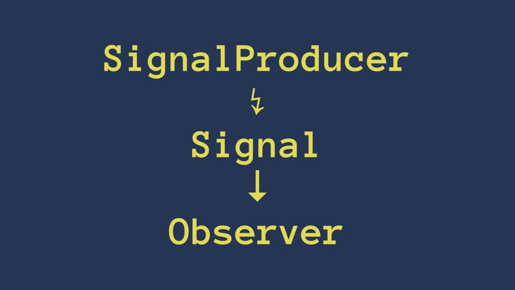 SignalProducer ↯ Signal ↓ Observer