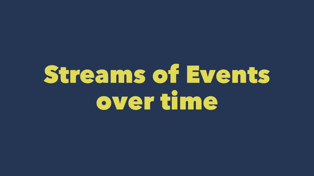 Streams of Events over time